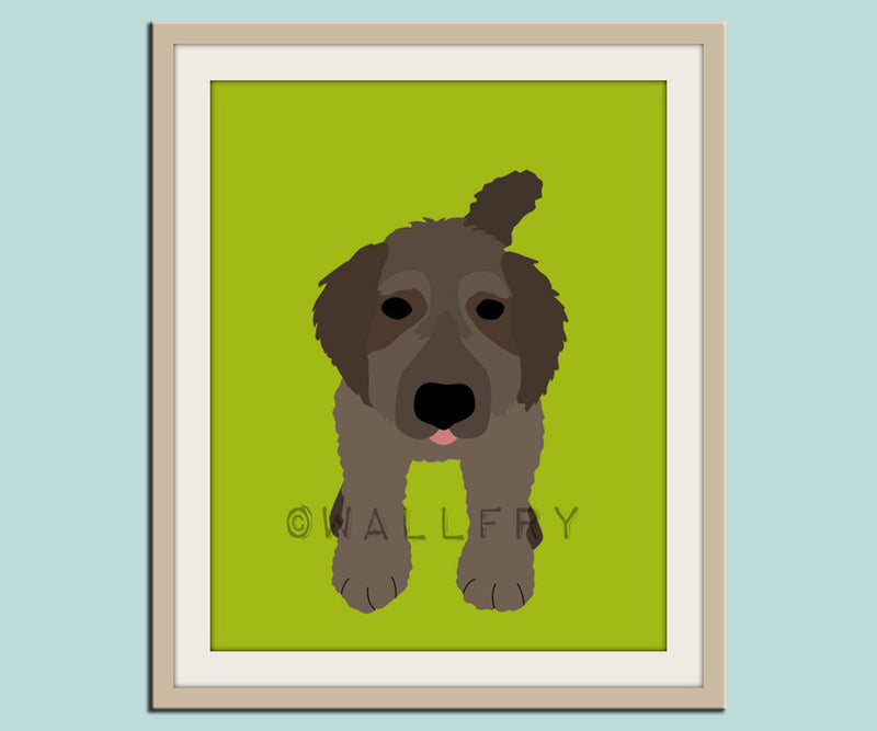 Labradoodle dog print. Puppy nursery artwork for baby & kids room decor theme. Custom colors, Dog Series Print by WallFry