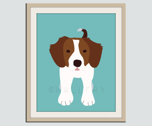 Brittany Spaniel dog print. Puppy nursery artwork for baby & kids room decor theme. Custom colors. Dog Series print by WallFry