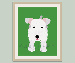 Schnoodle dog print. Puppy nursery artwork for baby & kids room decor theme. Custom colors. Dog Series print by WallFry