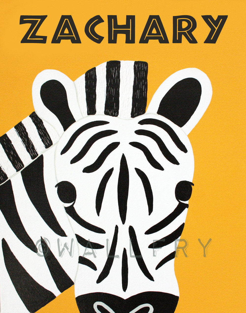 Personalized children art Zebra Print baby nursery art. Safari artwork, jungle art, for kids rooms in blue and orange by WallFry