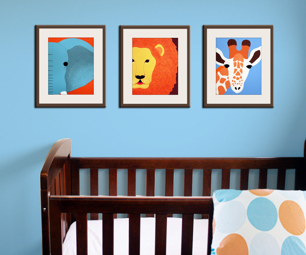 Jungle nursery decor. Baby nursery art prints. Safari theme nursery. Safari prints. Blue, brown, orange colors. SET OF 3 prints by Wallfry