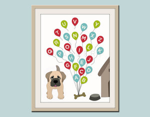 ABC Alphabet nursery art. Puppy dog nursery print. Balloon alphabet poster for kids. Children decor, children art, print by WallFry