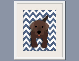 Dog art print, chevron baby nursery art for children. Kids puppy dog wall art. Chocolate Labrador print by WallFry