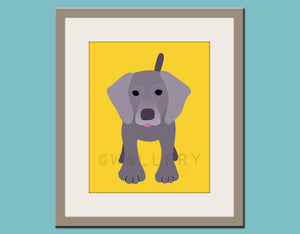 Baby nursery art print. Wall art for children, kid's wall art. Puppy dog print nursery decor. Weimaraner Dog print by WallFry