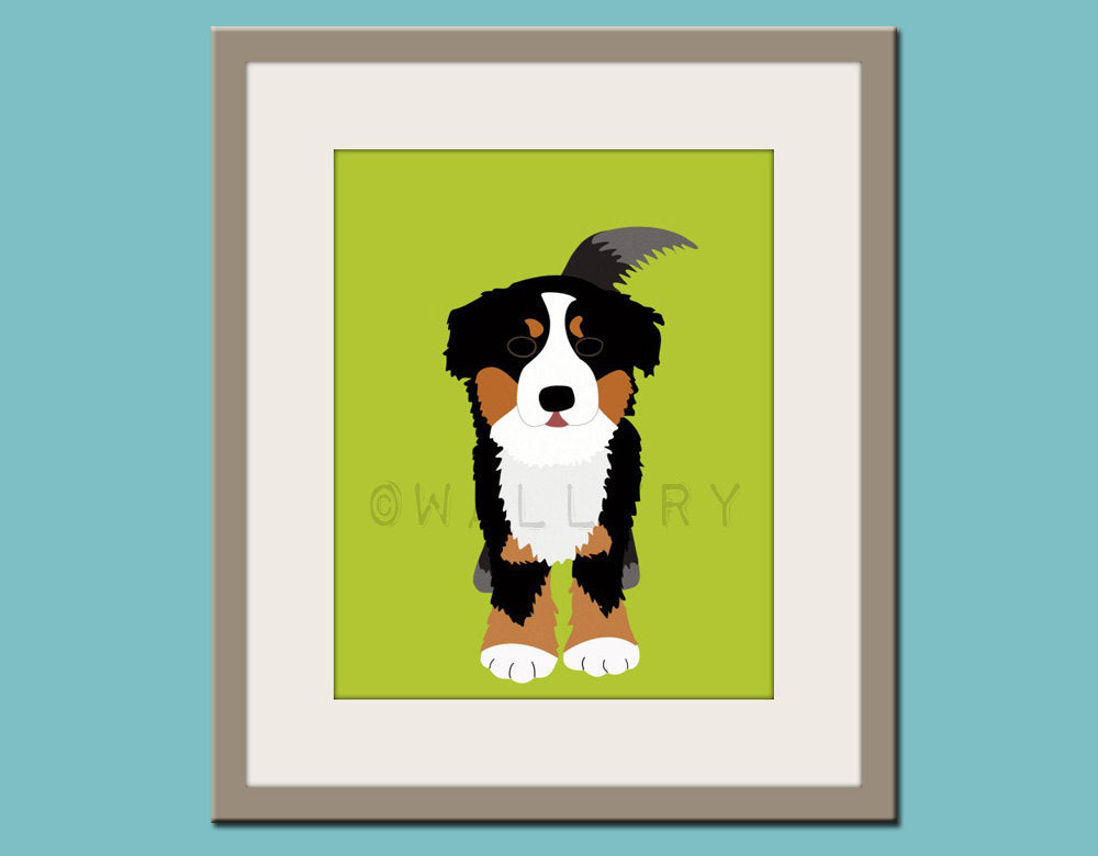 Baby nursery art print. Wall art for children, kid's wall art. Puppy dog print nursery decor. Bernese Mountain Dog print  by WallFry