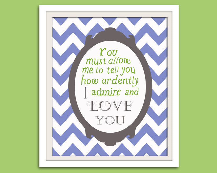 Jane Austen quote nursery art print. Literature quote book wall art print. Chevron nursery decor I love you. Art print by WallFry