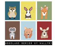 Children spring woodland animal prints. Child Easter gift, forest nursery art. Owl print. SET of ANY 4 prints by WallFry