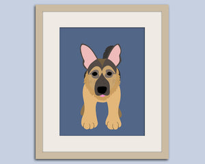 German Shepherd dog art print. Puppy dog themed nursery art for kids. Children dog art from painting. Art print by WallFry