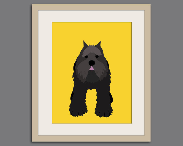 Bouvier dog art print. Puppy dog themed nursery art for kids. Children dog art from painting. BOUVIER dog print by WallFry