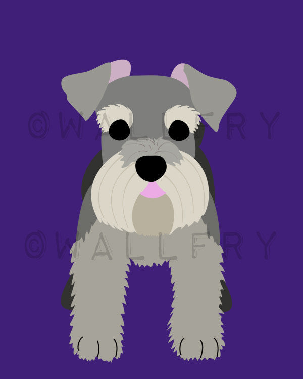Schnauzer dog art print. Puppy dog themed nursery art for kids. Children dog art from painting. Art print by WallFry