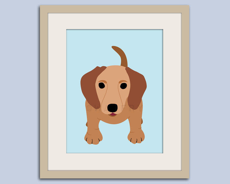 Dachshund print. Hot dog, weiner dog, sausage dog, puppy dog nursery decor. Kids wall art, nursery print by WallFry
