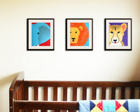 Lion Print for nursery. Safari artwork, baby jungle animal art, child zoo decor animal for kids rooms and animal nursery in blue and orange
