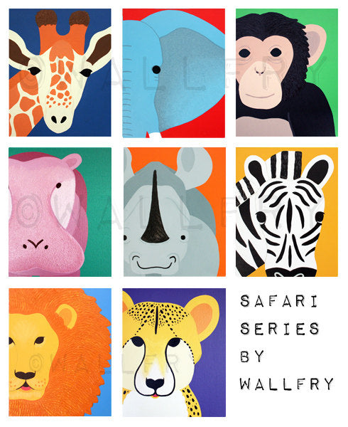 Elephant Print for baby / Child nursery. Modern print of safari artwork, jungle art, zoo decor animal for kids rooms red & blue by WallFry
