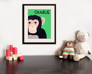Monkey Print for nursery. Chimp artwork, baby  jungle art, child zoo decor animal for kids rooms and playrooms by WallFry