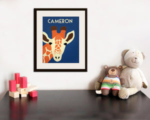 Giraffe Print nursery art. Safari artwork, baby  jungle art, child zoo decor animal for kids rooms and playrooms in blue and orange