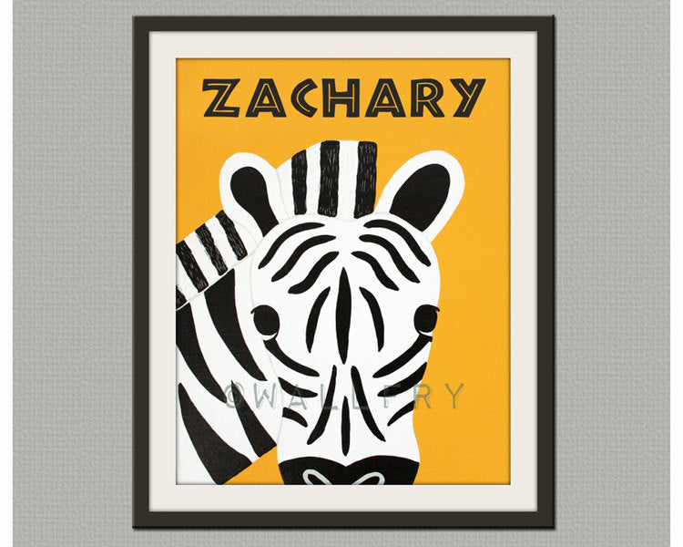 Zebra nursery print. Safari artwork, jungle art, zoo decor animal for kids, baby & child rooms and playrooms. Zebra print by WallFry