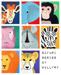 Jungle nursery décor. Jungle themed nursery. SET OF ANY 6 Safari animal nursery prints for children, kids decor, Jungle nursery ideas