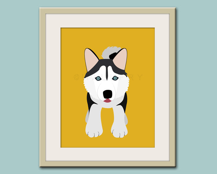Baby nursery wall art. Siberian Husky, kids wall art. Puppy dog print nursery decor. Siberian Husky Dog print by WallFry