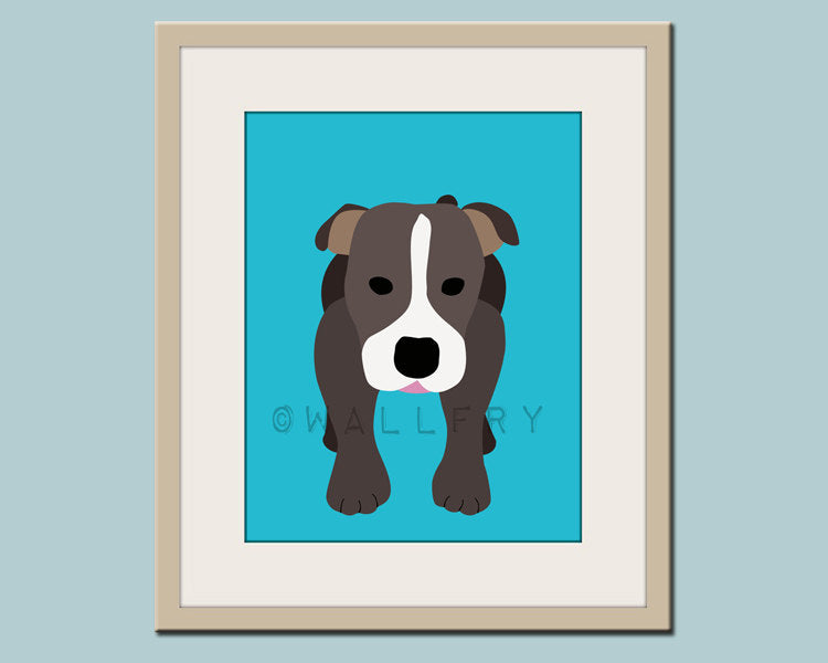 Pitbull print dog art. Dog nursery decor. Children wall artwork, wall art for kids room. Custom dog art for kids. Art print by WallFry