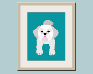 Shih Tzu print dog art. Dog nursery decor. Children wall artwork, wall art for kids room. Custom dog art for kids. Art print by WallFry