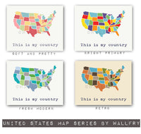USA Map. Kids wall art us map for kids. Playroom decor world maps nursery art print. Modern map print nursery print by WallFry