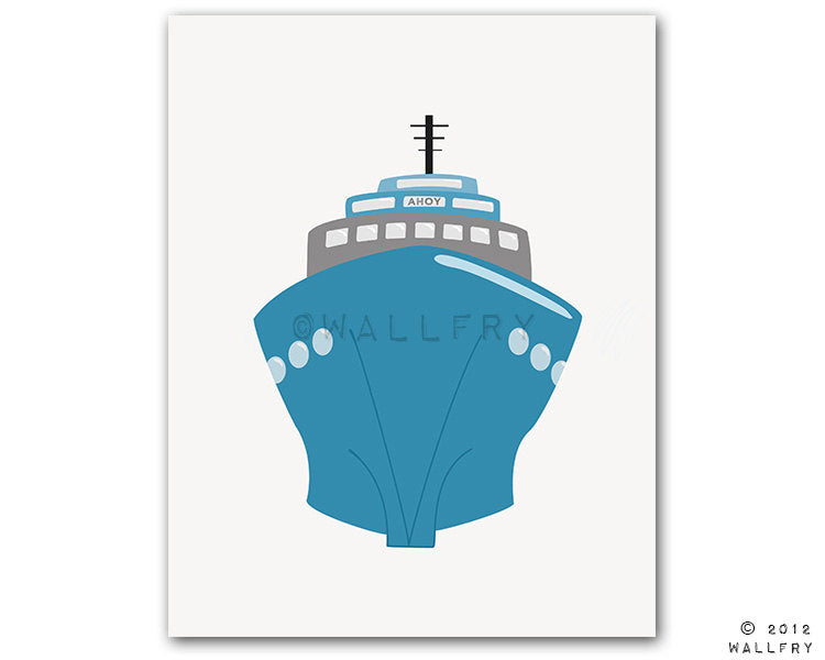 Transportation decor. Boat print wall art for nautical nursery decor. Kids wall art car, ship, airplane prints. BOAT print by Wal
