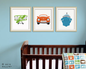 Transportation prints. Boys wall art for nursery and playroom. Kids decor, child decor. Plane, train, car SET OF 4 prints by WallFry