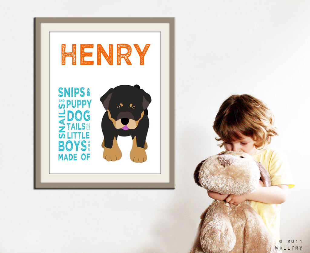 Personalized children art for boys. Baby boy nursery art. Baby nursery wall art. wall art. Boy name art. Personalized Dog print by WallFry