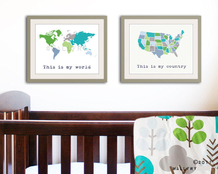Large world map print SET OF 2 map prints. Country map and world map poster wall art for playroom, kids wall art. Map prints by WallFry