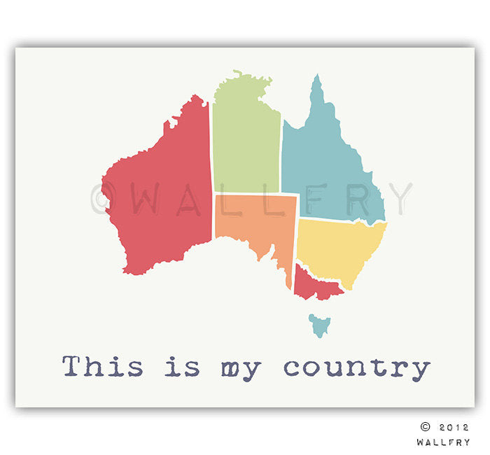 Map of Australia. Playroom wall art country map for kids. Playroom artwork world maps. Modern map print Australia nursery print by WallFry