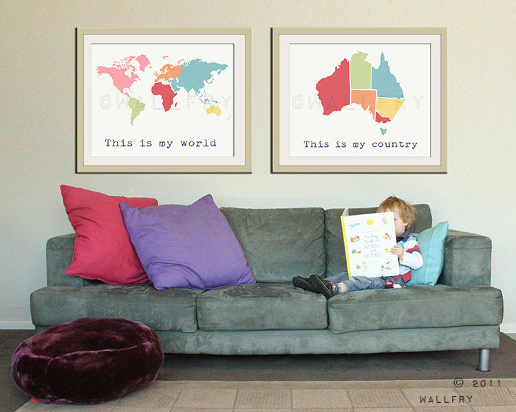 Kid wall art. World map print, children wall art. Kid playroom art. Modern Map art for children, nursery art. Map nursery print by WallFry