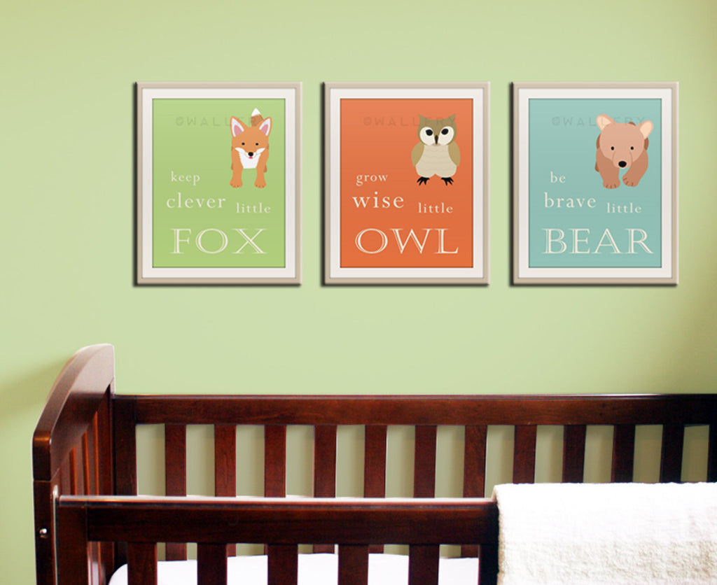 Be brave little bear. Grow wise little owl Woodland nursery decor. Owl Nursery wall art. SET of ANY 3 prints. Kids decor artwork by WallFry