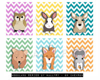 Owl nursery art for children. Chevron zigzag print. Woodland forest animals, friends & critters art for kids. Owl Art Print by WallFry