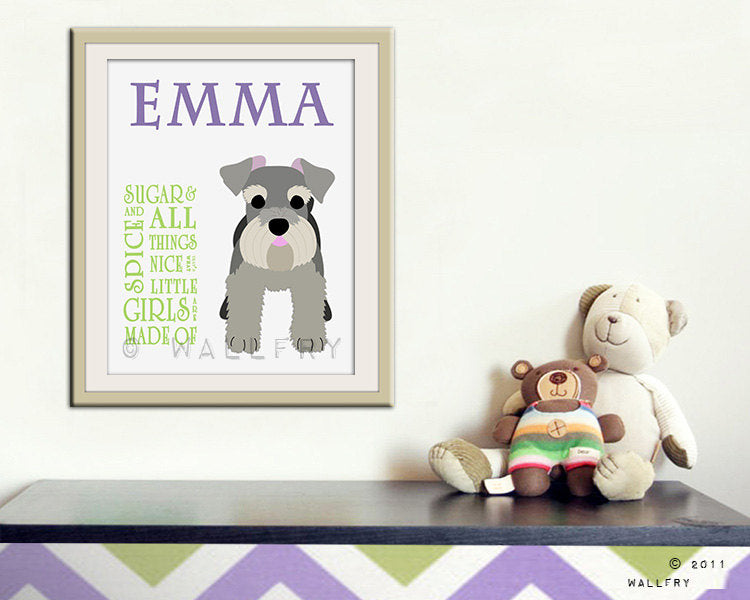 Personalized children art. Sugar and spice print for girls. Personalized name print. Newborn gift nursery art. Art print by WallFry