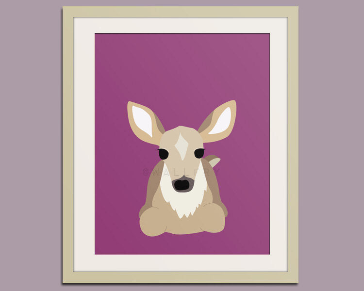 Deer woodland nursery decor print. Forest animal nursery art print. Animal art for kids decor. Art print by Wallfry