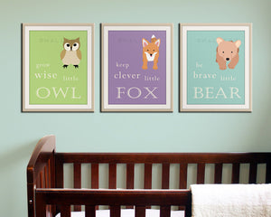 Woodland Nursery decor. Be Brave little bear, grow wise little owl, baby nursery art. SET OF 6 woodland typography prints by WallFry
