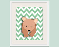 Bear nursery art chevron print. Woodland forest animals, friends & critters pictures for kids rooms Bear print by WallFry