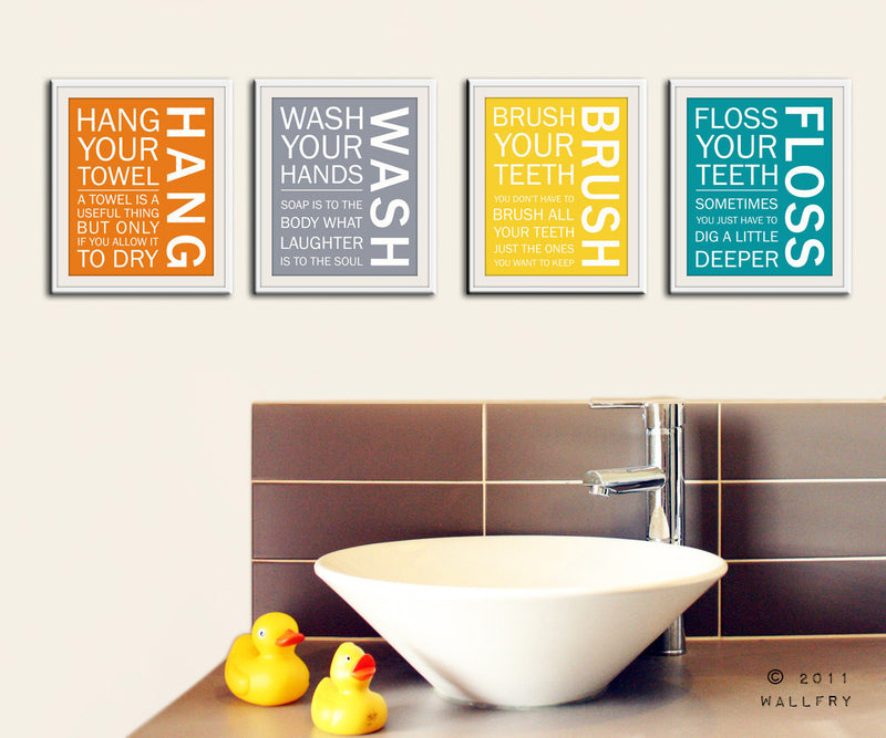 Bathroom art. Kids Bathroom rules. Bathroom prints bathroom art. Typography.  Bathroom art print by WallFry