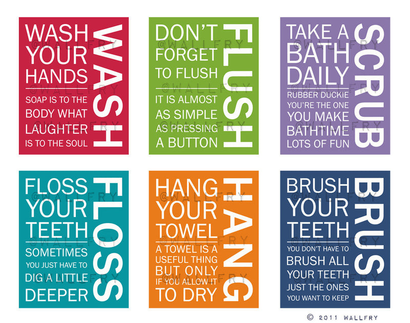 Bathroom art. Kids Bathroom rules. Bathroom prints bathroom art. Typography.  8x10 print by WallFry