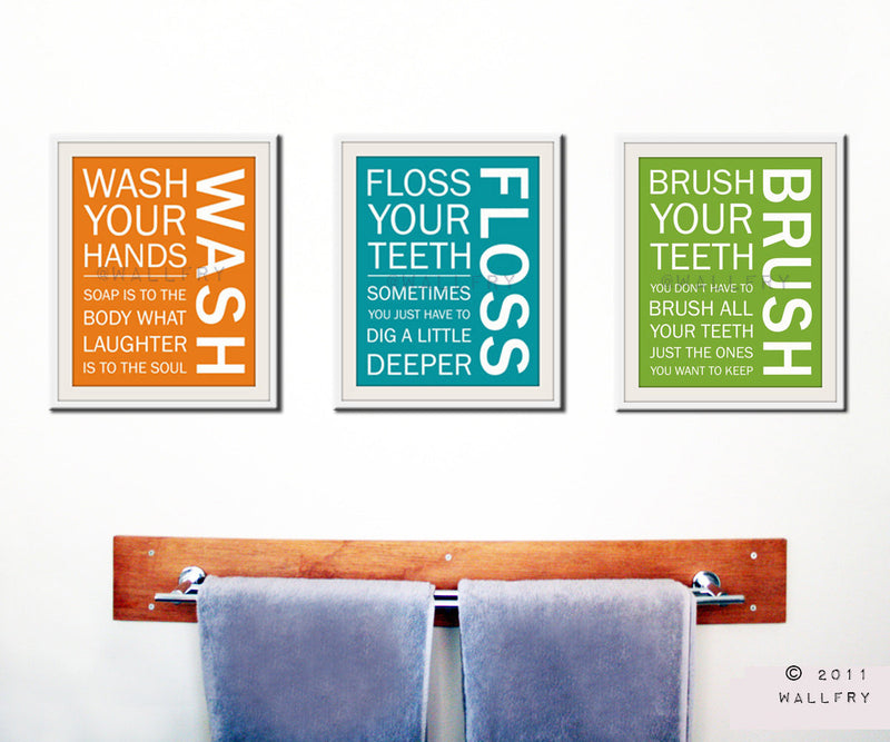 Bathroom decor. Kids Bathroom rules. Bathroom prints bathroom art. Typography. SET OF 3 prints by WallFry