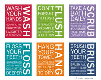 Bathroom art. Kids Bathroom rules. Bathroom prints bathroom art. Typography.  Bathroom rules print by WallFry