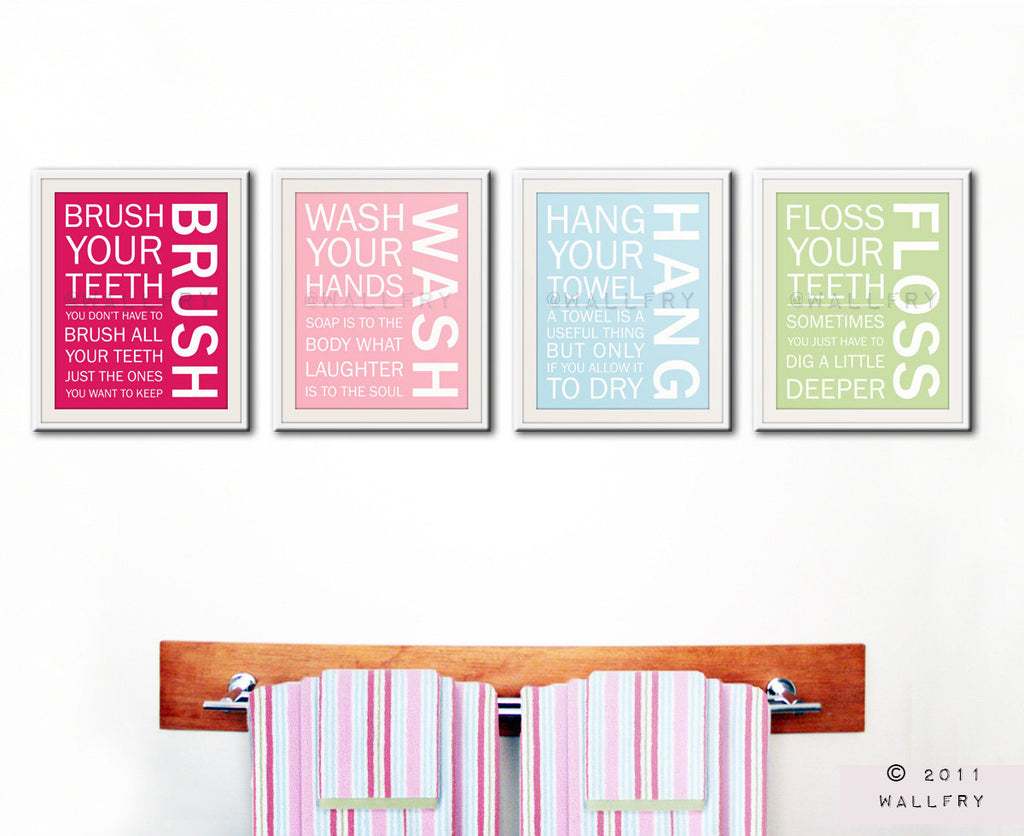 Bathroom art. Kids Bathroom rules. Bathroom prints bathroom art. Typography.  Bathroom print by WallFry