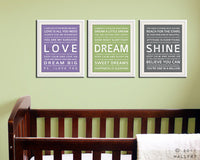 Children wall art. Baby nursery art print. Typography art for kids. Nursery wall quotes. SET OF ANY 3 prints, love dream playroom decor