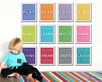 Children activity inspiration print. LEARN typography kids wall art. Wall art quotes for playroom decor. Art print by Wallfry