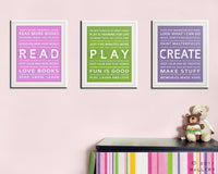 Children activity inspiration print. Children art typograpy print for playroom decor or library. Kids Wall art print by Wallfry