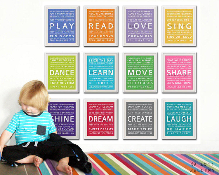 Word art wall art for kids. Playroom prints, playroom children Inspiration typography. SET OF ALL 12 inspiration prints. Art by Wallfry