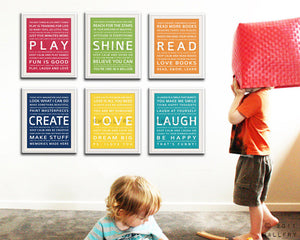 Children Wall Art. Typography prints baby nursery art prints. Inspiration quote prints for children art. SET OF ANY 6 prints by Wallfry