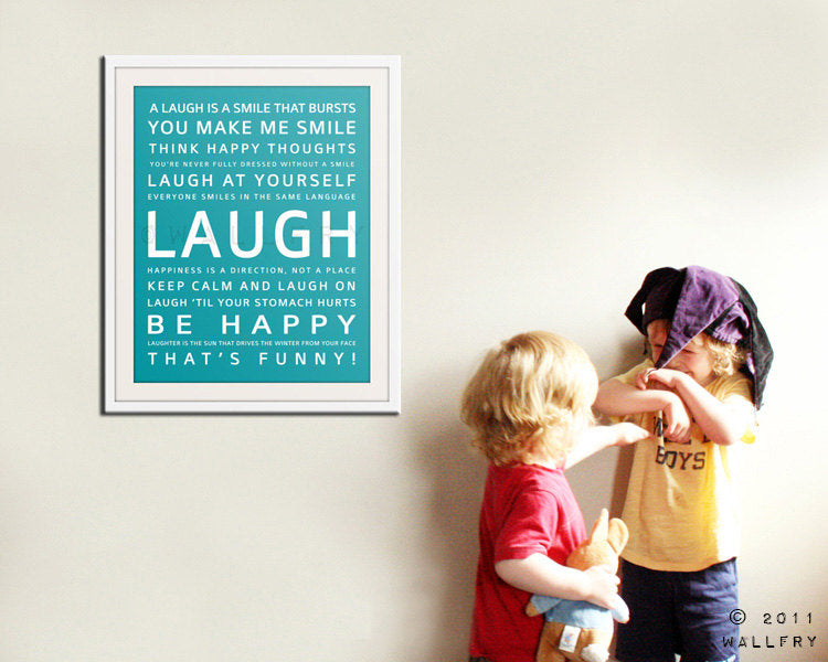 Nursery inspirational print. Children art typograpy print for playroom decor or nursery art. Kids Wall art. LAUGH print by Wallfry