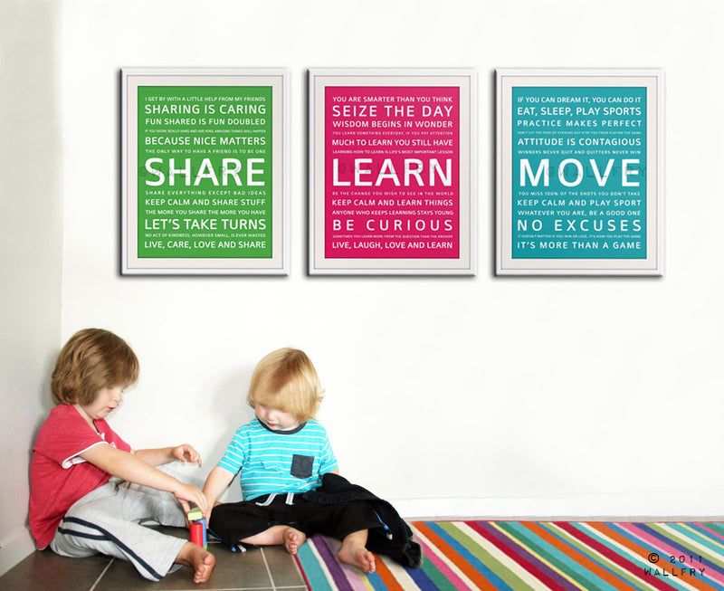 Playroom wall art, playroom prints. Inspirational typography MOVE. Subway word art for kids. Art print by WallFry