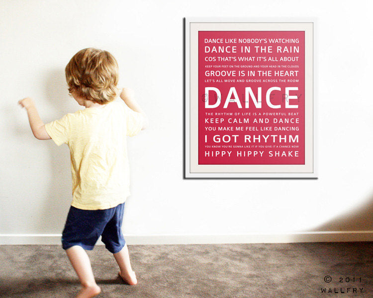 Children inspirational print. Children art typograpy print for playroom decor or nursery art. Kids Wall art DANCE print by Wallfry